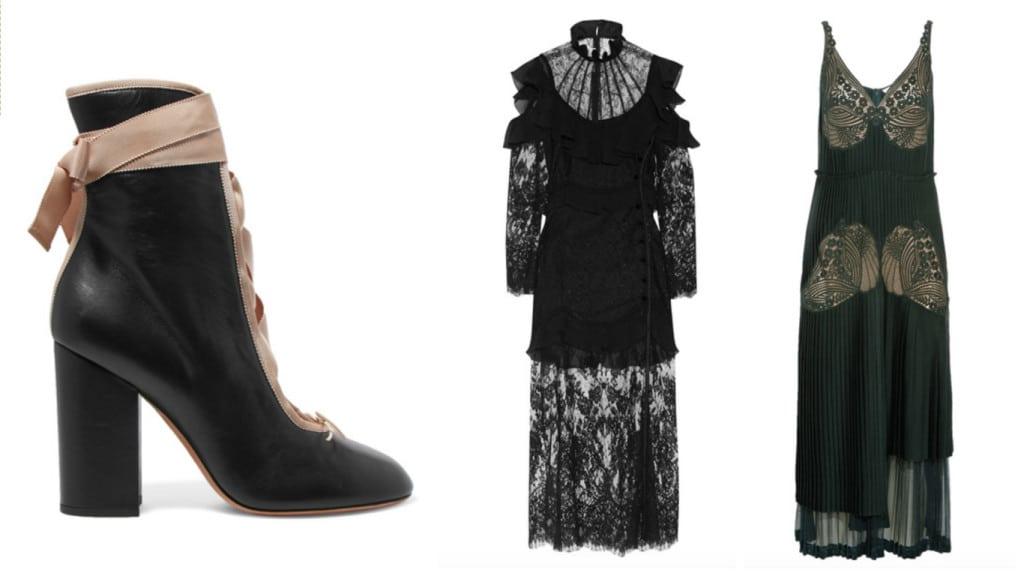 Lanvin rijglaarsje, gothic dress Alessandra Rich en lace Stella McCartney