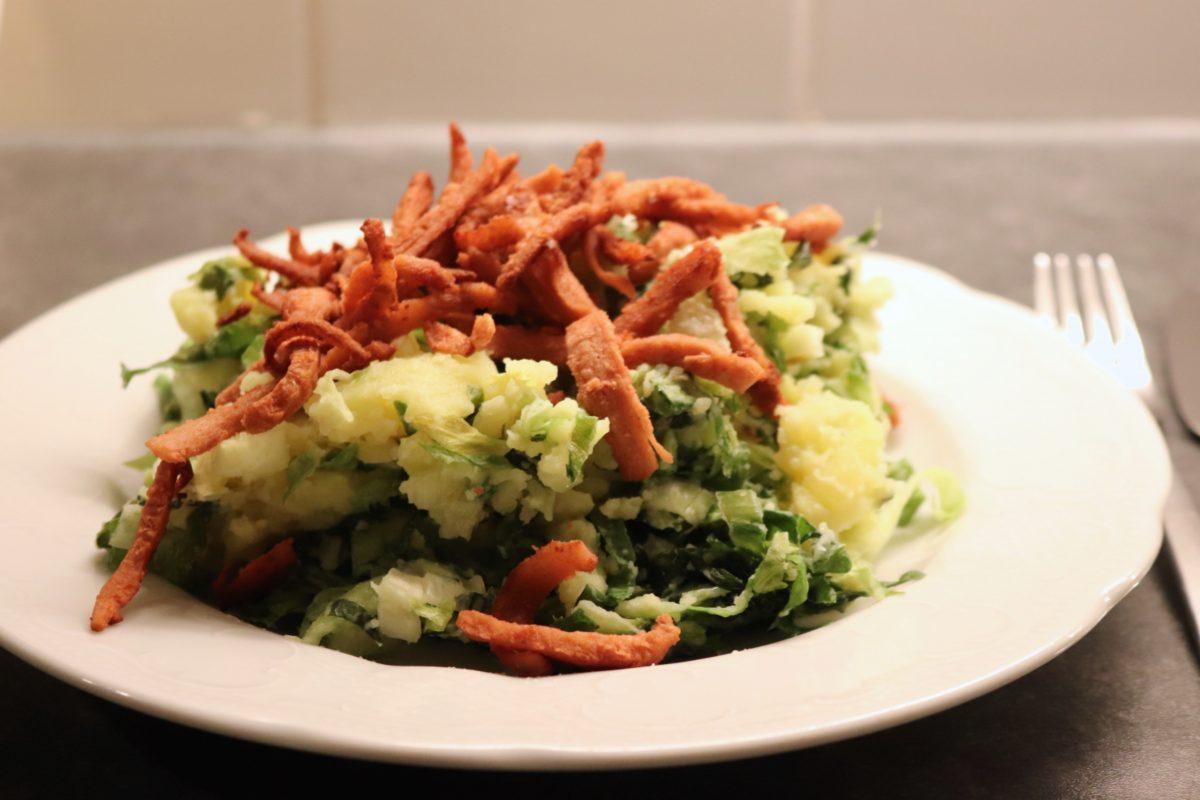 Vegetarische andijviestamppot met spekjes