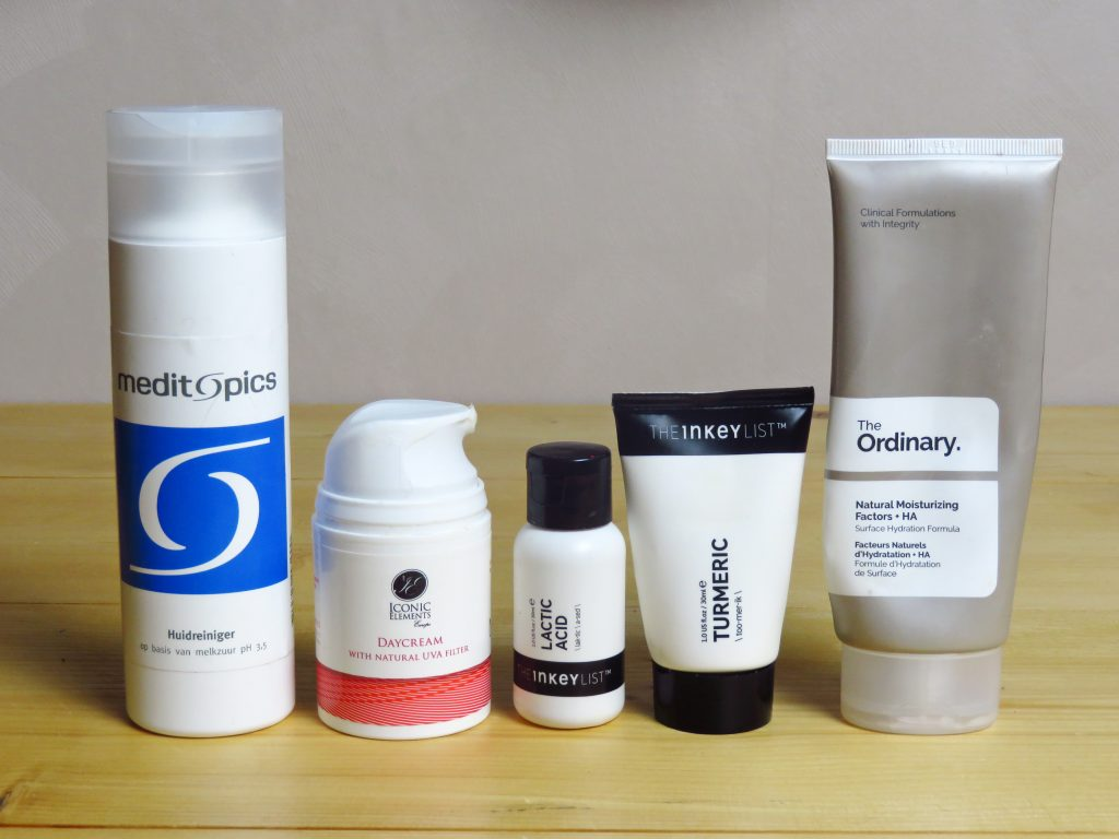 Favoriete huidverzorgingsproducten, the ordinary, meditopics, huidreiniger, moisturizer, exfoliant, the inkey list, iconic elements, melkzuur, lactic acid, turmeric, kurkuma